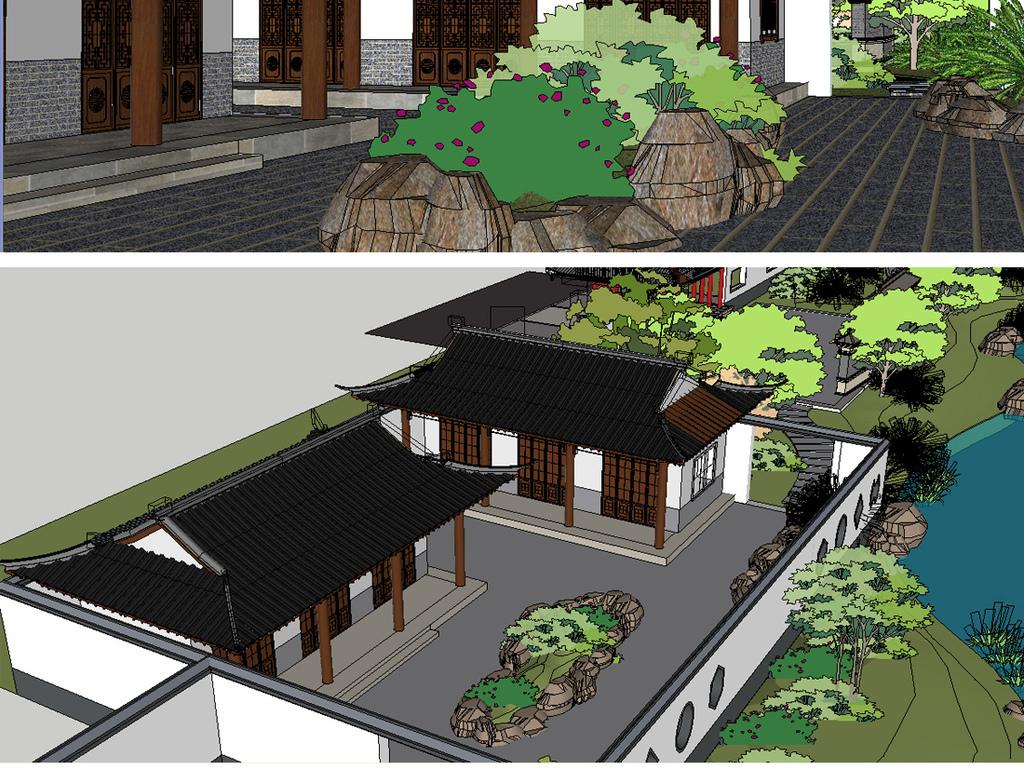 中式滨水公园园林su模型