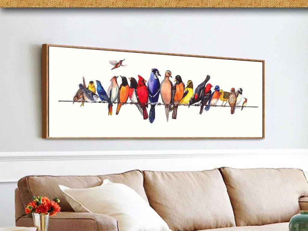 高清室内装饰装饰画北欧风格抽象画有框画鸟油画简约欧式手绘欧式框画