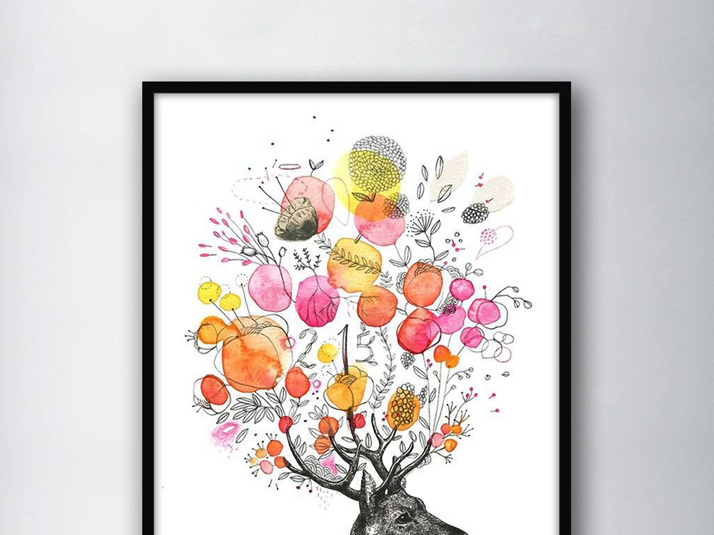 开满花的麋鹿头手绘现代北欧小清新装饰画图片