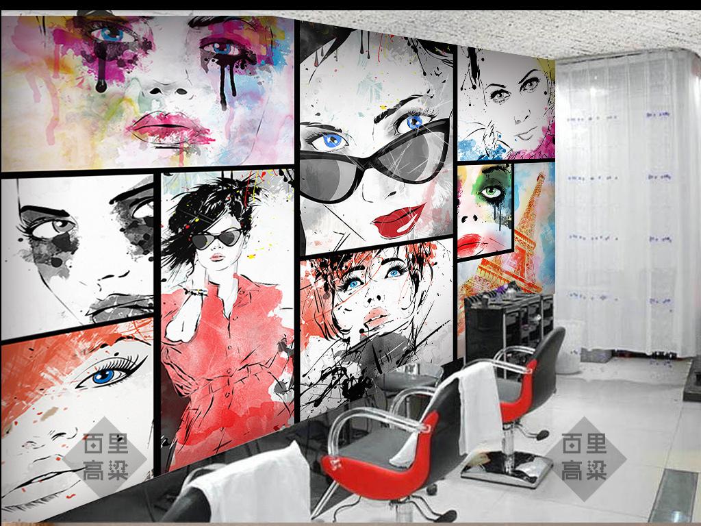 手绘艺术美女涂鸦拼图墙纸