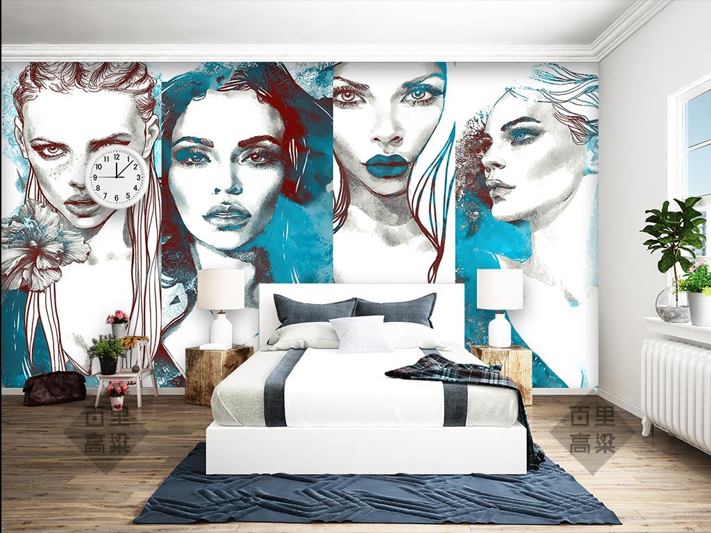 时尚艺术手绘美女墙纸