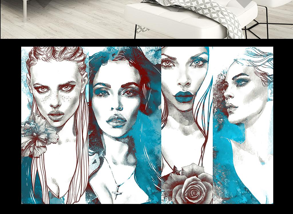 时尚艺术手绘美女墙纸(图片编号:15937544)_现代简约