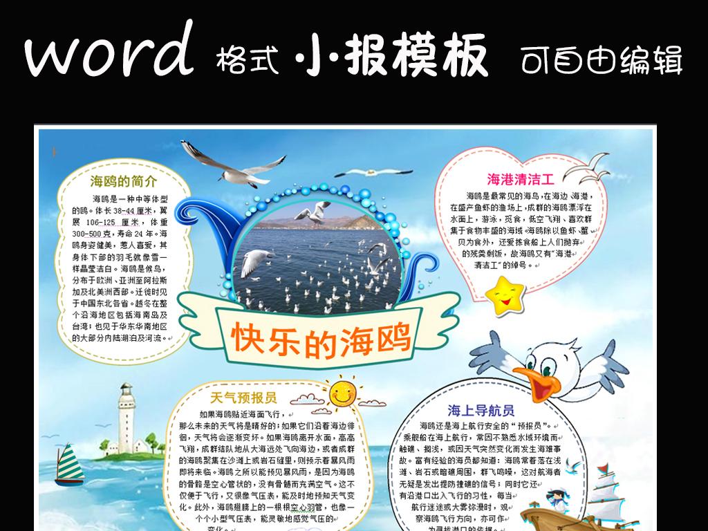 word模板电子小报动物小报海鸥