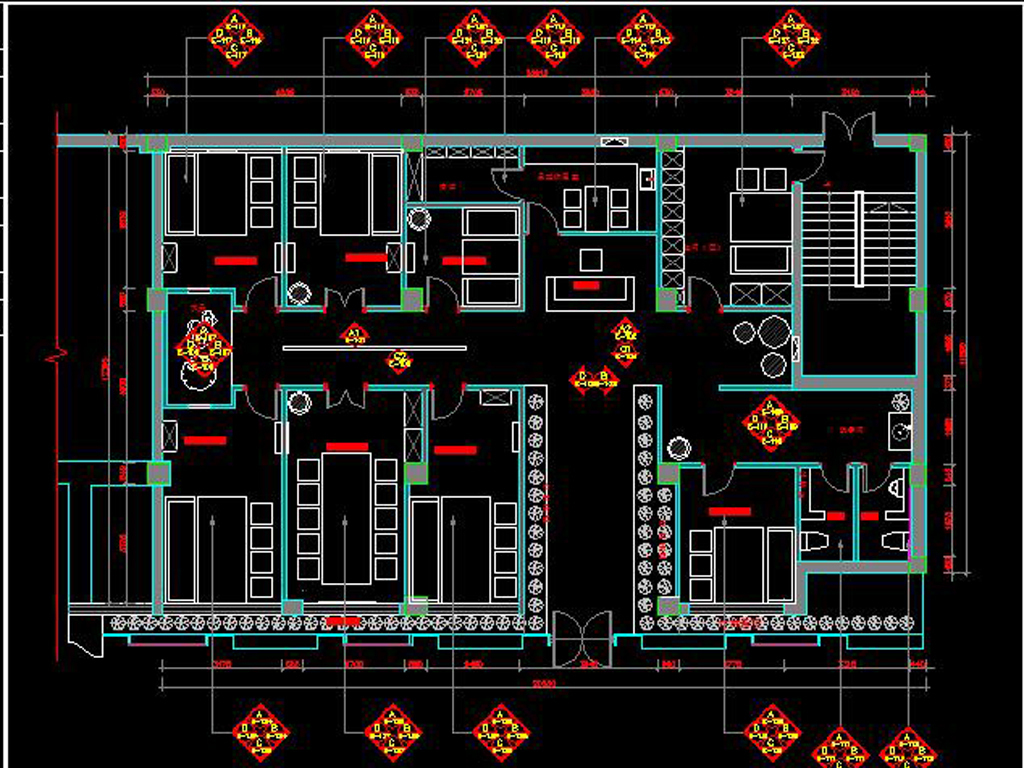 中式茶餐厅CAD施工图实景图