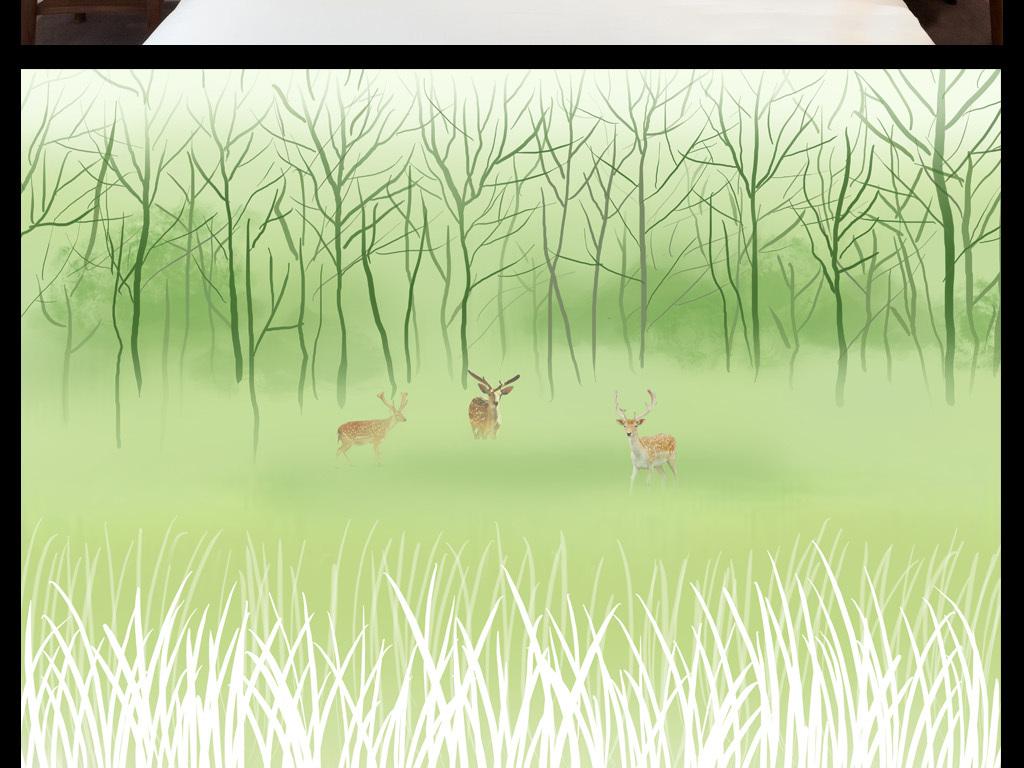 森林小鹿抽象艺术温馨背景