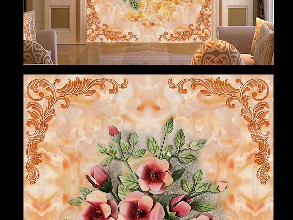 高清时尚花卉植物欧式背景艺术温馨背景墙