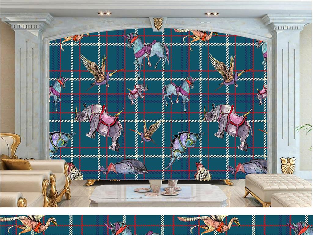动物森林麋鹿手绘电视背景墙