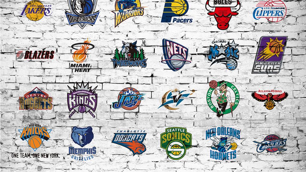 工装背景墙 酒吧|ktv装饰背景墙 > 怀旧复古美国nba篮球队徽电视背景图片