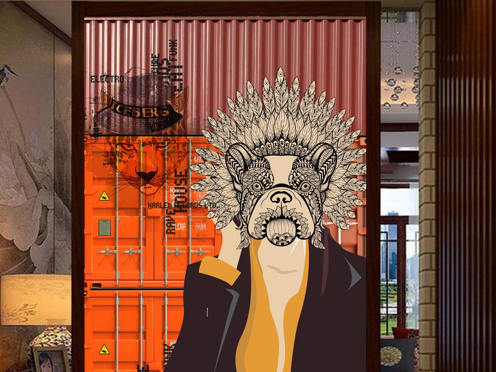 设计作品简介: 3d集装箱手绘人物狗头服装店工装玄关