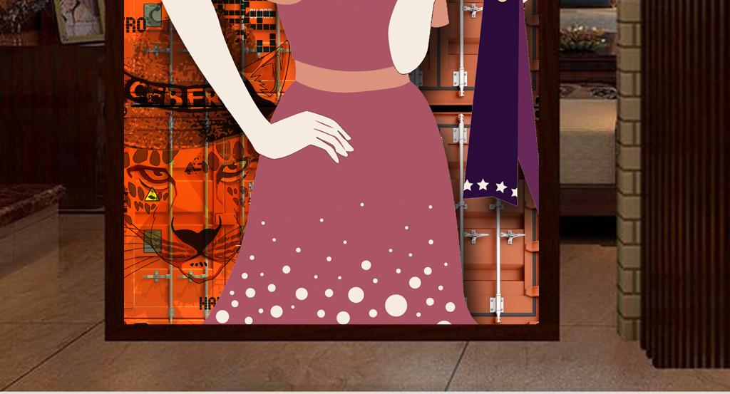 3d集装箱服装店手绘人物骷髅头工装玄关
