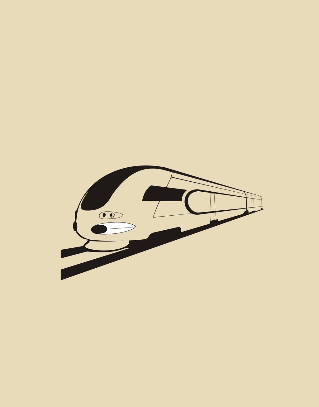 火车卡通高铁简笔画手绘黑白交通工具