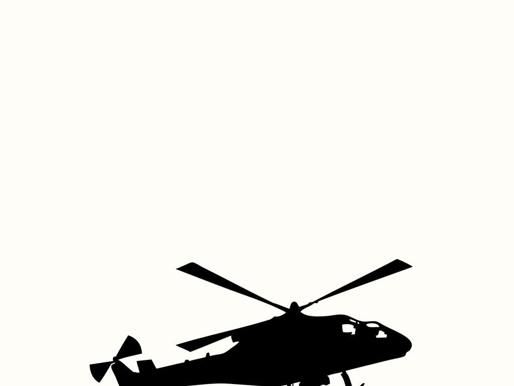 直升飞机黑白剪影