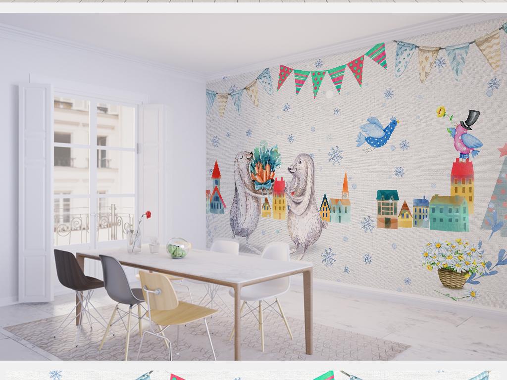 欧式卡通兔子儿童房背景墙