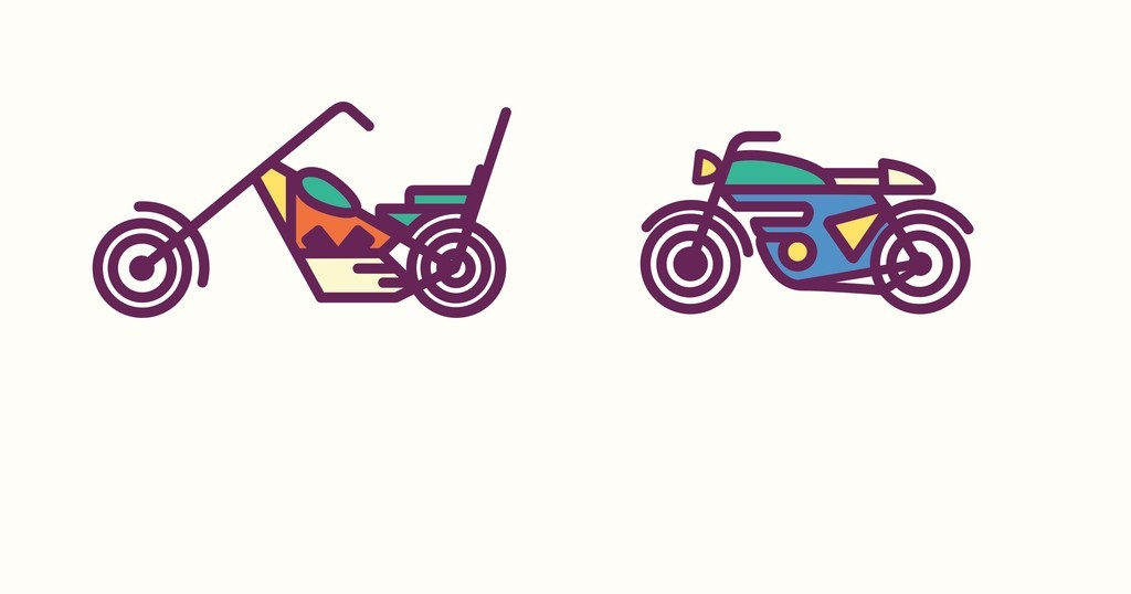 卡通小汽车摩托车自行车