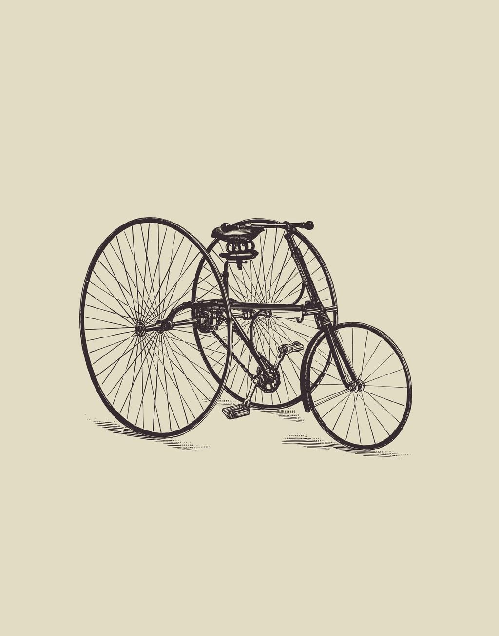 自行车轮胎手绘自行车图案素材