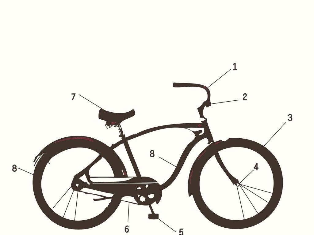 自行车手绘剪影