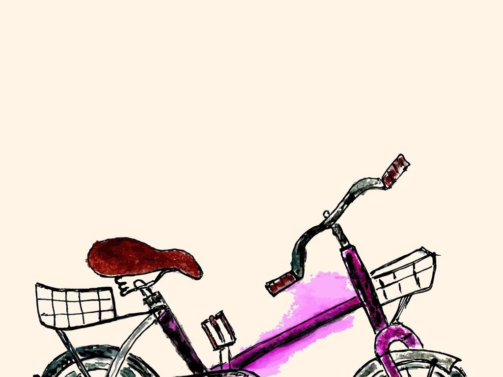 手绘自行车水彩画