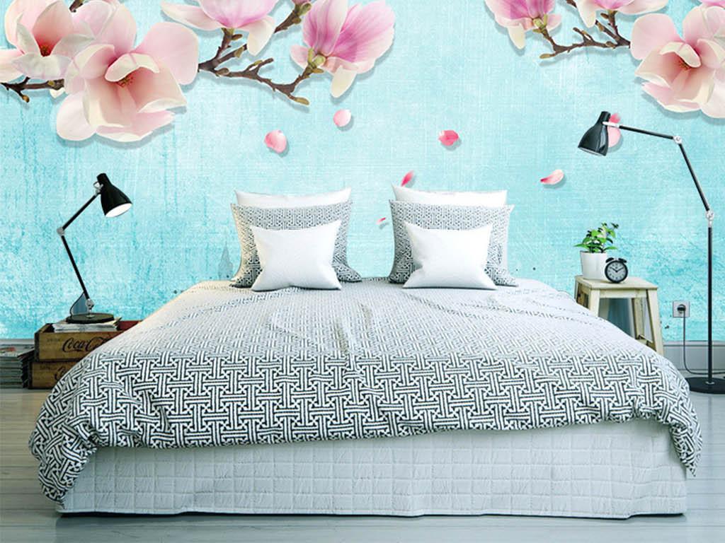 森系日系郁金香蝴蝶兰简欧花朵简约现代手绘壁画壁纸