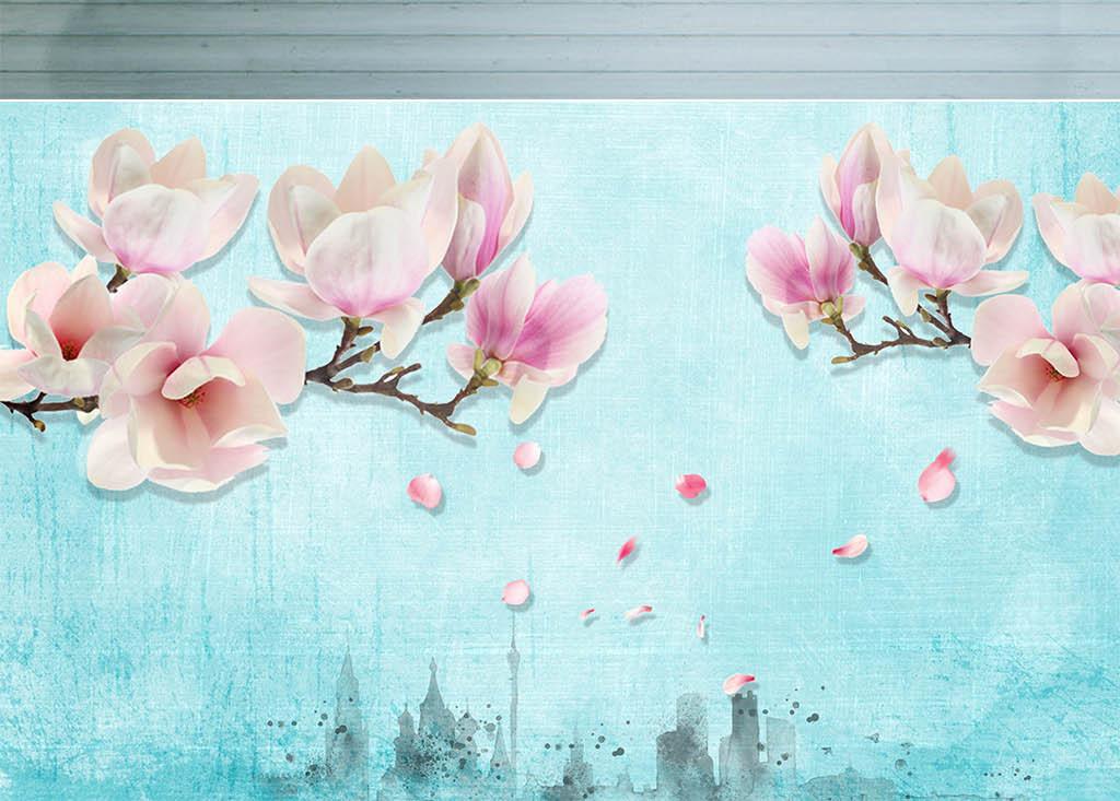 花朵木兰花玉兰清新蓝色复古蓝色水墨风油画森系图片