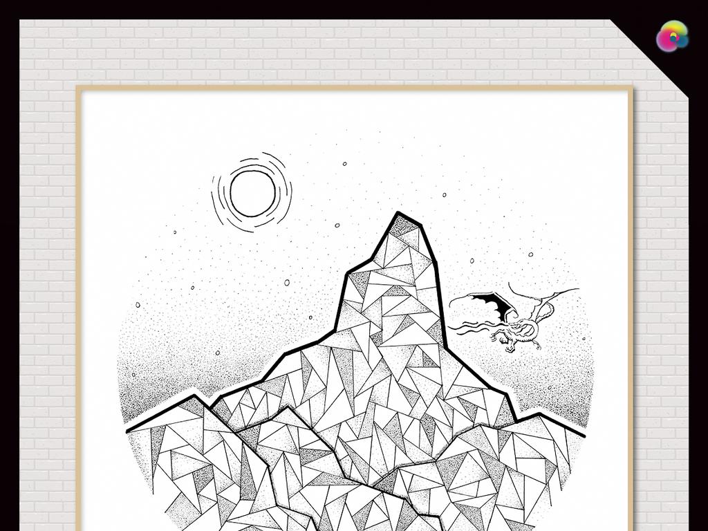 现代简约手绘新中式抽象几何山水画装饰画