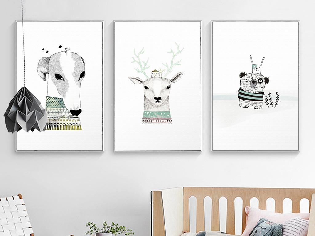 北欧风格手绘动物无框画装饰画