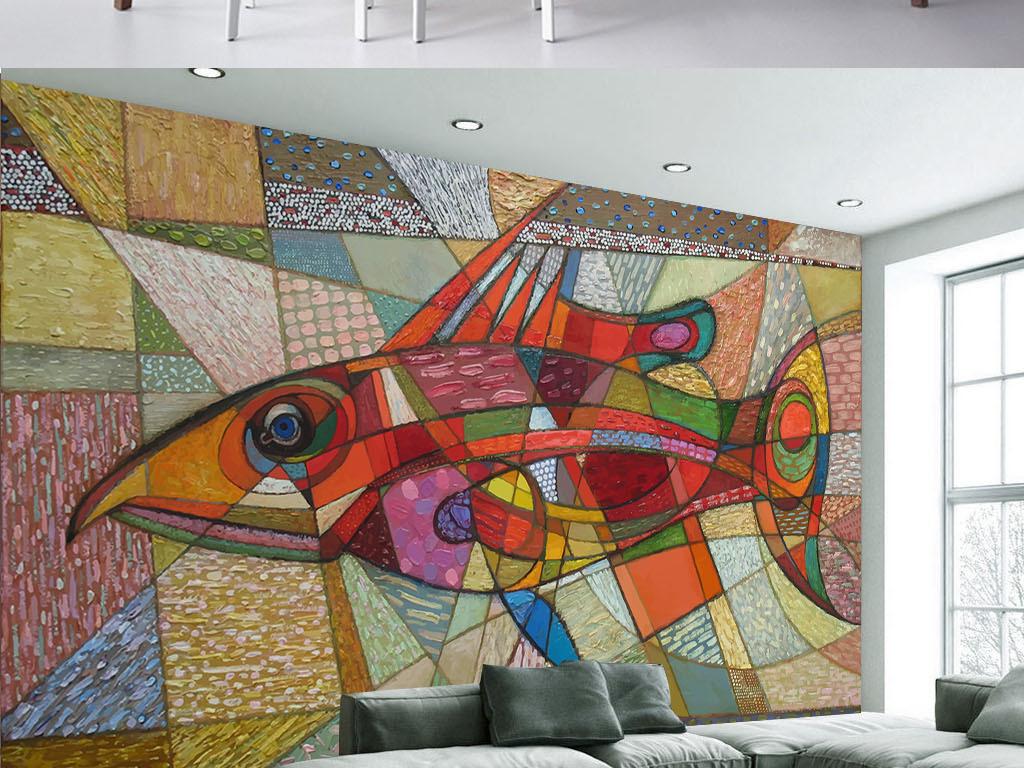 背景墙 工装背景墙 卖场 服装店背景墙 > 手绘鱼几何个性涂鸦墙纸背景