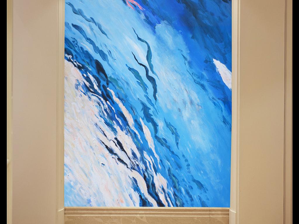抽象水中鱼手绘油画装饰玄关