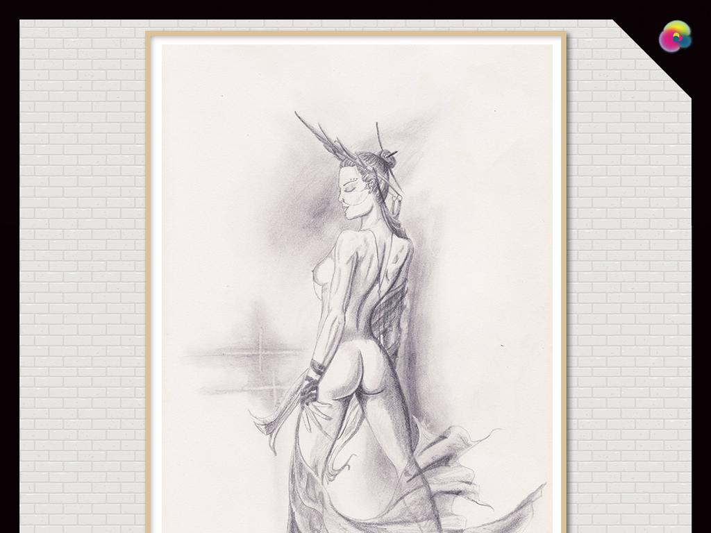 艺术素描极简淡雅现代简约北欧简约美女人物插画手绘人物手绘插画手绘