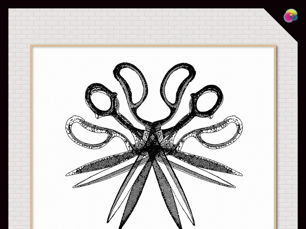 无框画 抽象图案无框画 > 北欧现代简约创意抽象手绘剪刀几何装饰画图片