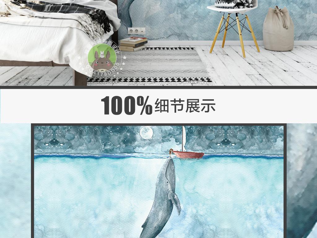 手绘海底世界鲸鱼小女孩艺术背景墙