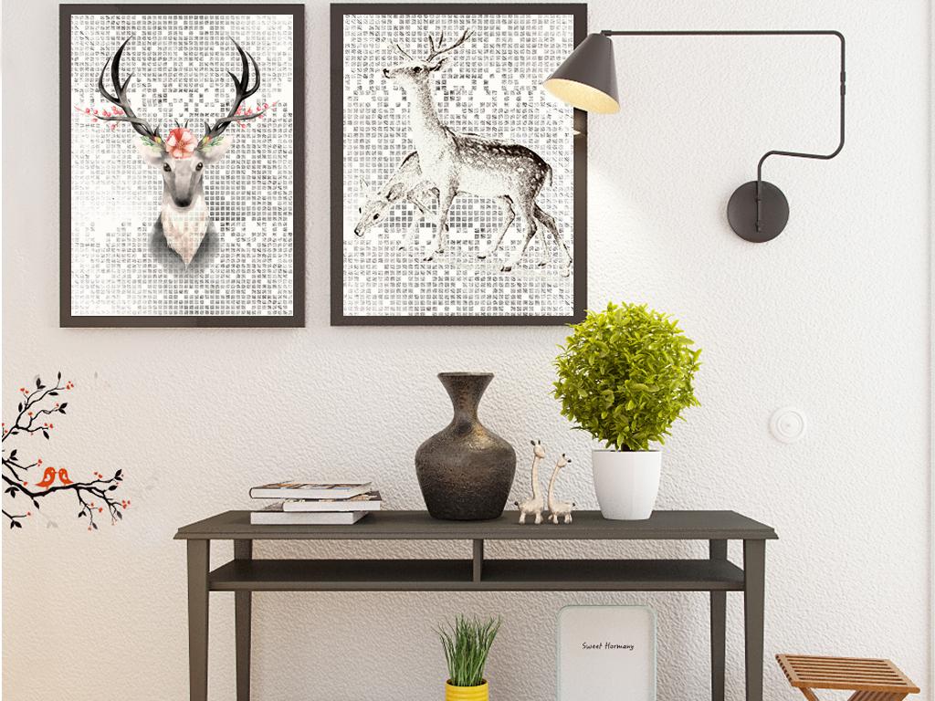 北欧麋鹿北欧风格手绘无框画装饰画插画