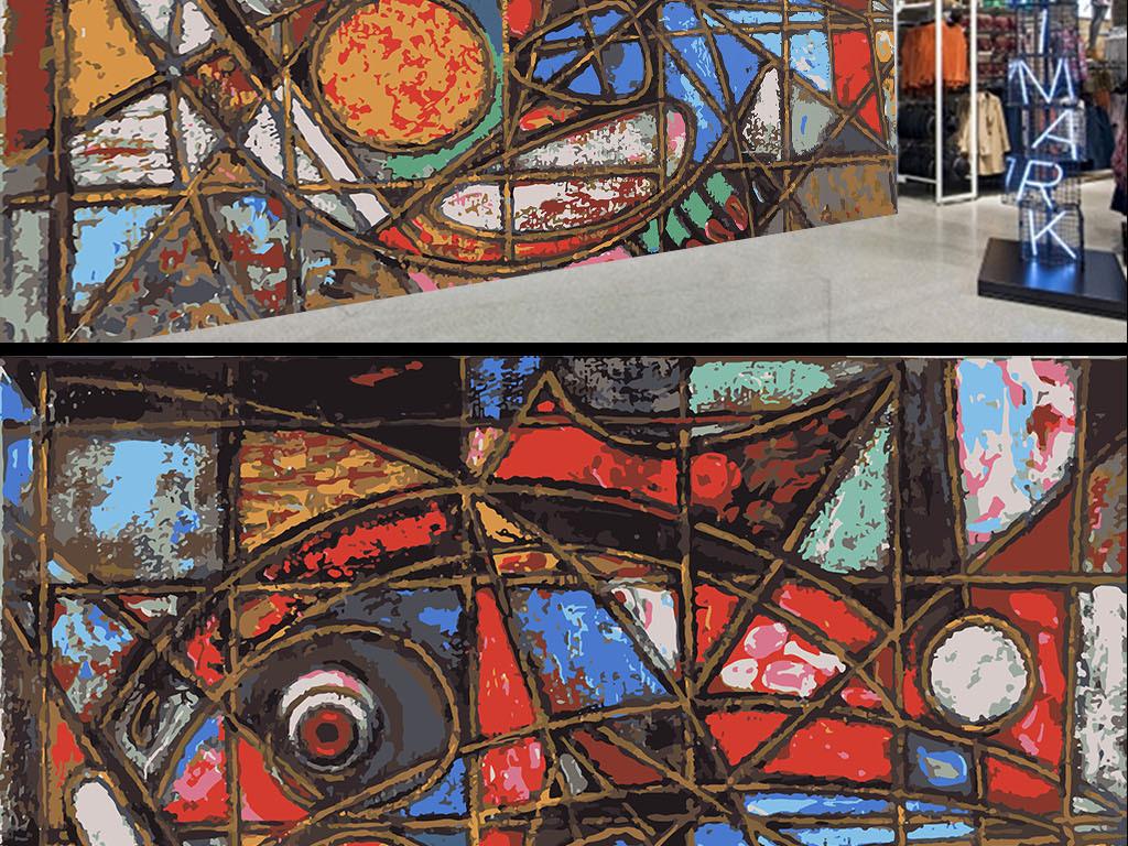 复古个性涂鸦几何鱼墙纸背景墙