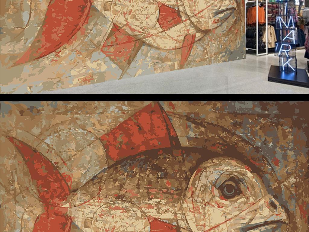 复古个性手绘涂鸦鱼墙纸背景墙