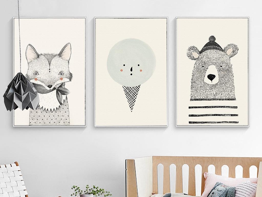 背景墙|装饰画 无框画 动物图案无框画 > 北欧简约手绘小熊无框装饰画