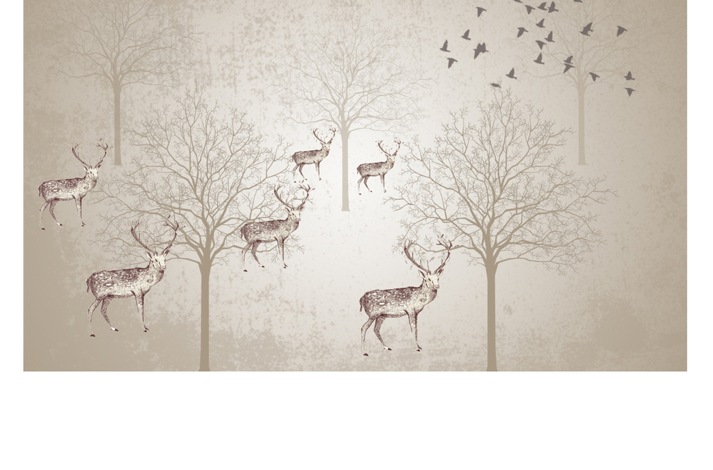 电视背景墙 现代简约电视背景墙 > 复古怀旧手绘驯鹿树林飞鸟背景墙
