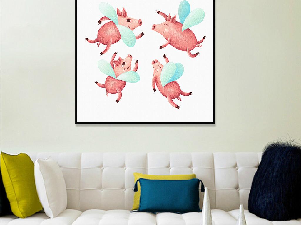 简约北欧风格无框画可爱动物客厅卧室装饰画图片