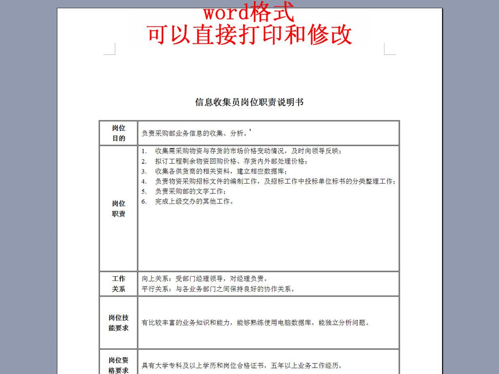 购部信息收集员岗位职责说明书模板下载 word doc格式素材 图片0.01