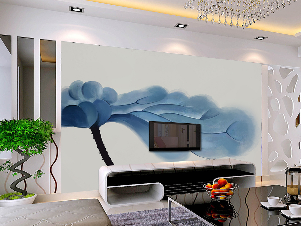 手绘蓝色荷叶电视背景墙装饰画