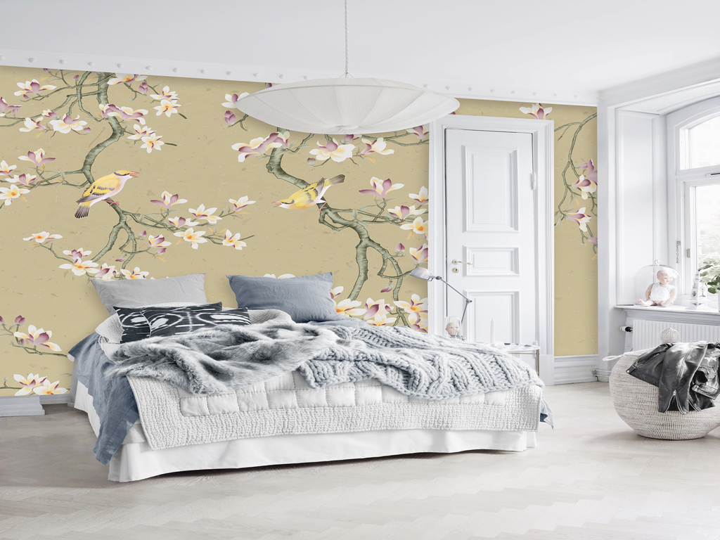 客厅卧室手绘高清简约玉兰花鸟图