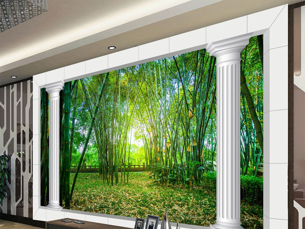 3d竹林风景电视背景墙