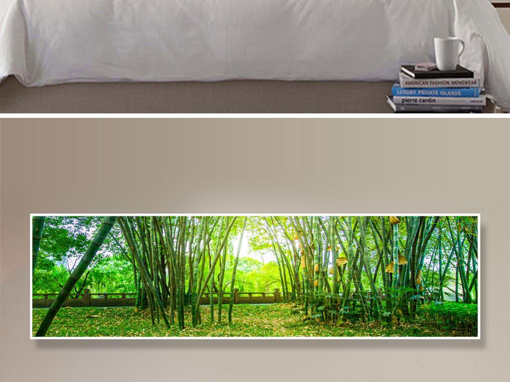 中国风床头画手绘床头画风景画床头画酒店装饰画宾馆壁画竹林装饰画