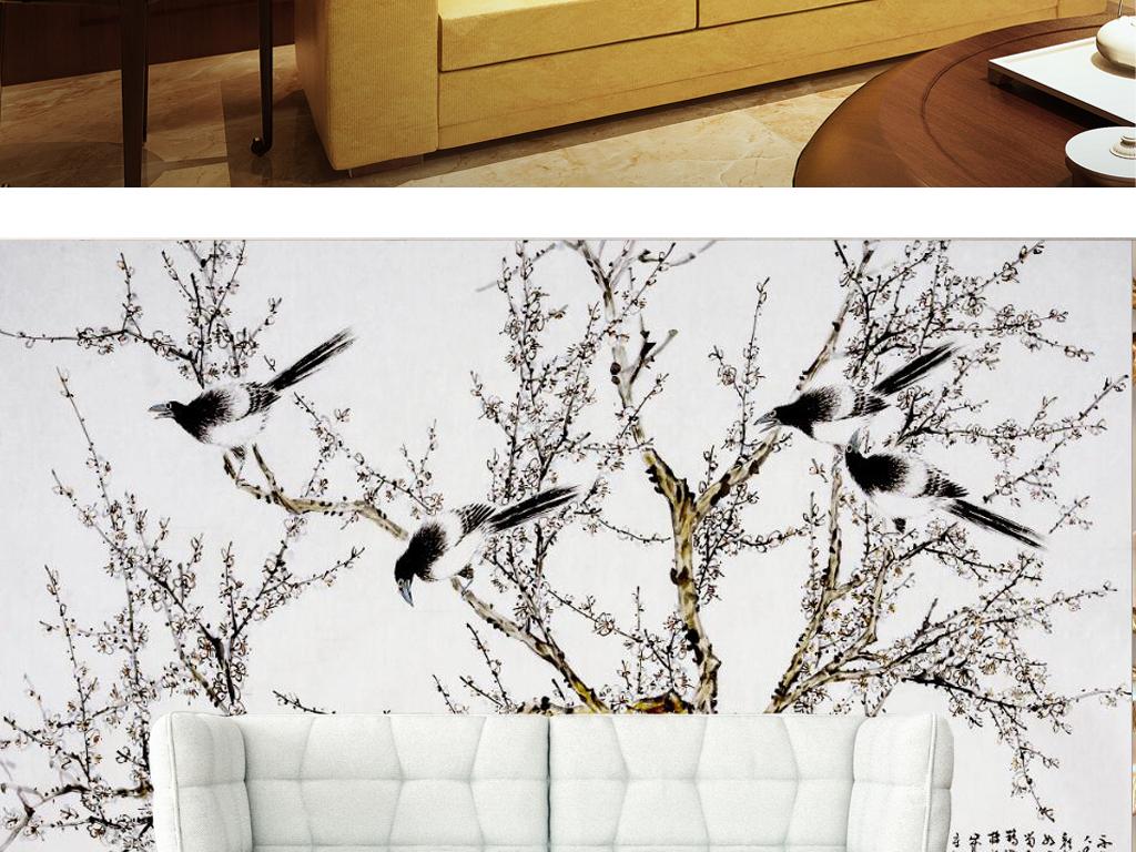 中式手绘白梅花喜鹊国画电视背景墙