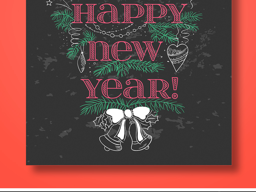 怀旧文艺黑板粉笔手绘矢量圣诞新年活动海报