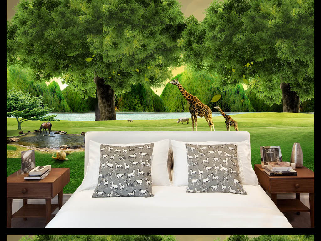 森林动物长颈鹿风景立体空间艺术背景墙