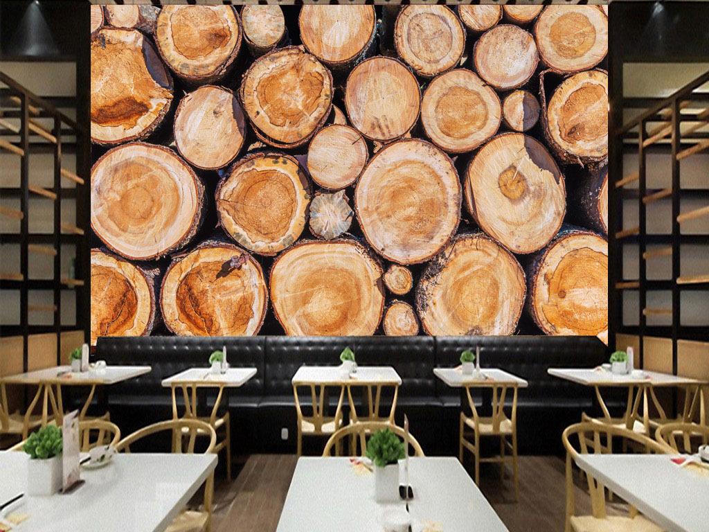 欧式复古圆木咖啡酒吧背景墙