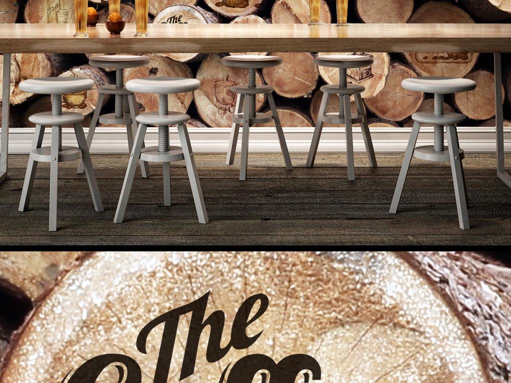 复古怀旧圆木咖啡酒吧背景墙