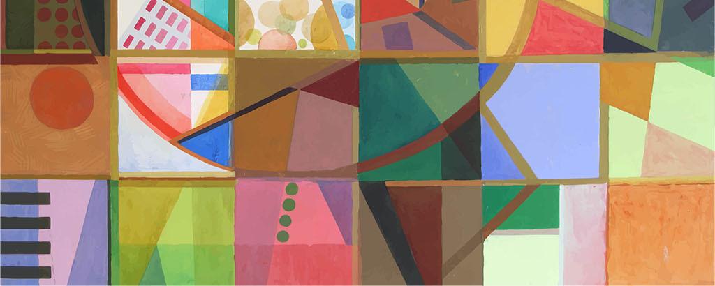 手绘彩色几何鱼墙纸背景墙