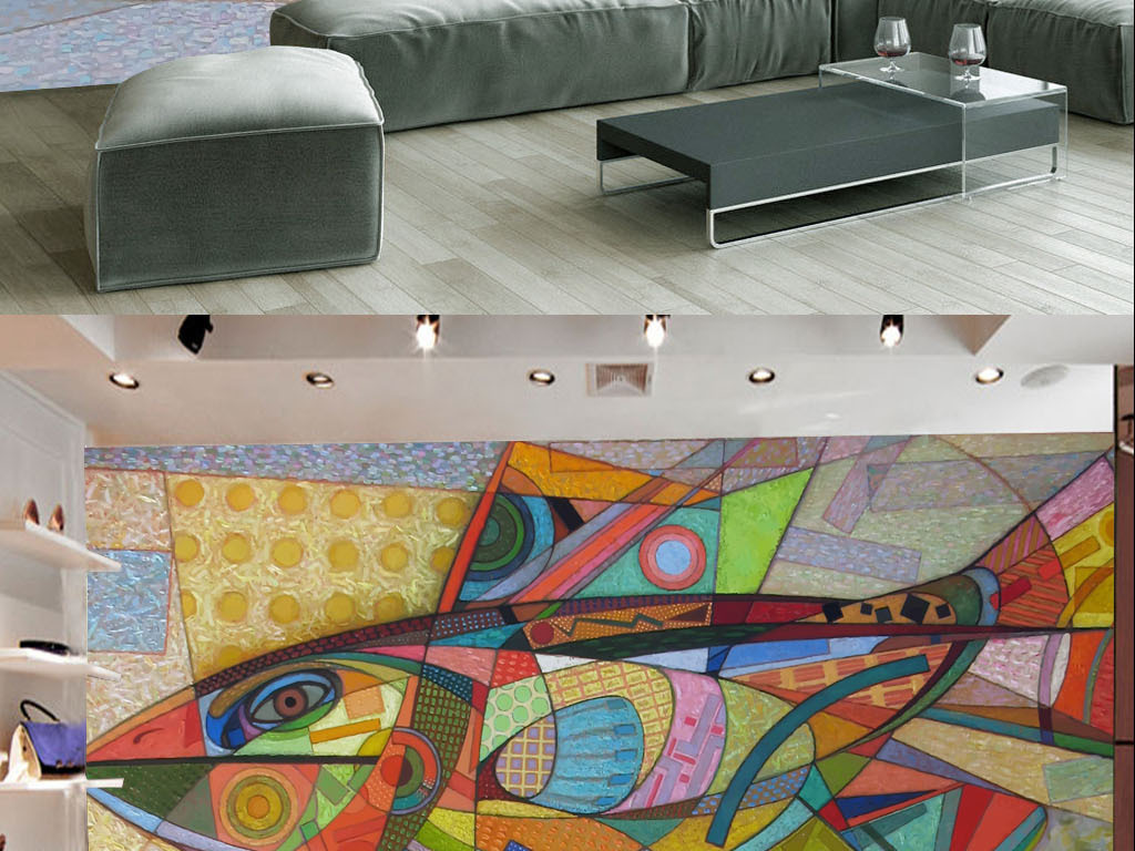 个性手绘彩色几何鱼墙纸背景墙