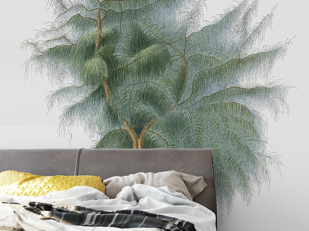欧式手绘绿色小树背景墙