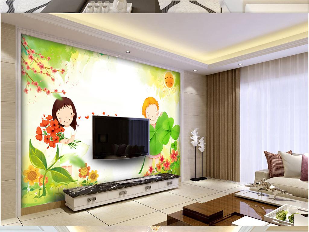 可爱卡通少女客厅沙发儿童房背景墙壁画